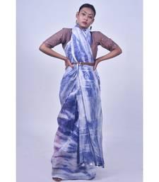 Lapiz Blue Shaded Saree In Khadi Linen