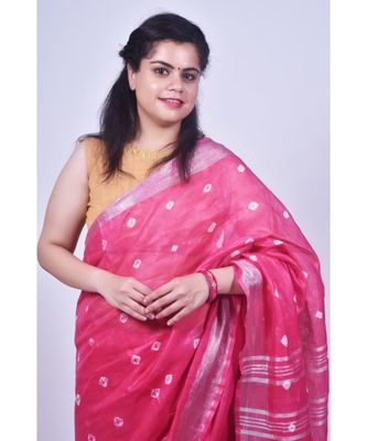 Hot Pink Saree In Khadi Linen