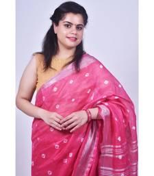 Hot Pink Saree In Khadi Linen