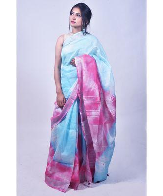 Sky Blue And Pink Saree In Khadi Linen