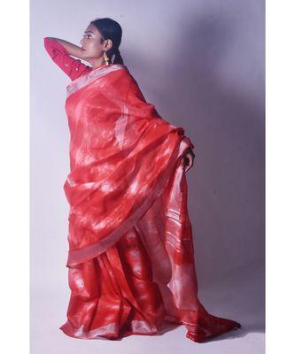 Cherry Red Saree In Khadi Linen