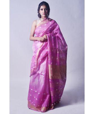 Lilac Saree In Khadi Linen