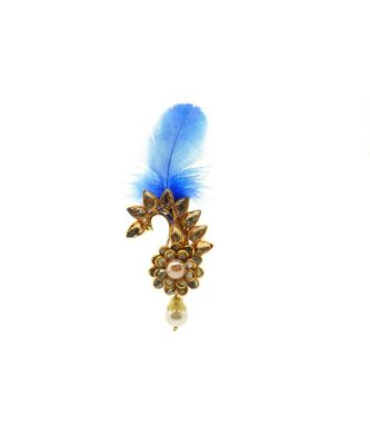 Gold Plated Feather Brooch for Men