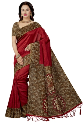 Red Printed silk blend saree with blouse