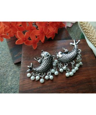 Fish Shaped German Silver Earrings With Pearl Hanging