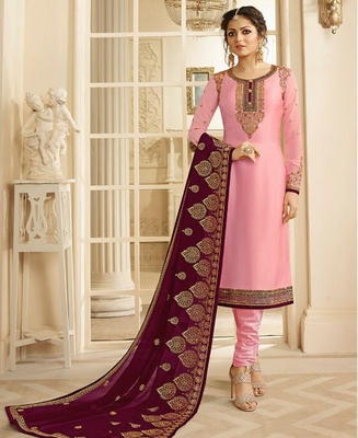 Designer Pink Embroidered Long Staright Suit With Designer Dupatta