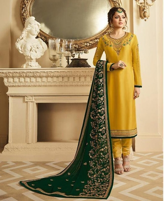Designer Yellow Embroidered Long Staright Suit With Designer Dupatta