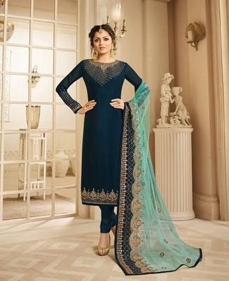 Designer Turquoise Embroidered Long Staright Suit With Designer Dupatta