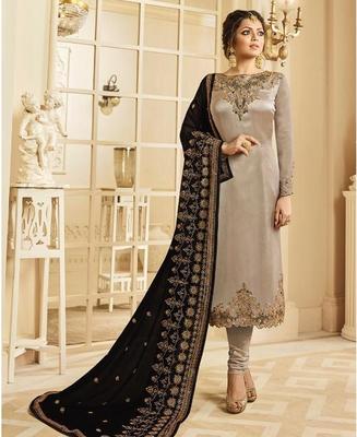 Designer Grey Embroidered Long Staright Suit With Designer Dupatta