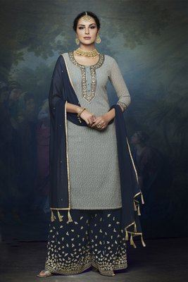 blue embroidered chiffon semi stitched salwar with dupatta