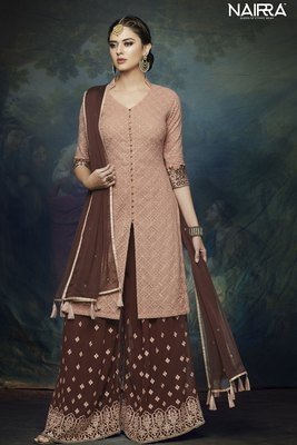 Brown  embroidered chiffon semi stitched salwar with dupatta