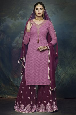 Purple Embroidered Chiffon Semi Stitched Salwar With Dupatta