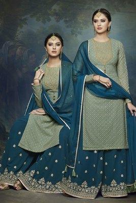 green embroidered chiffon semi stitched salwar with dupatta