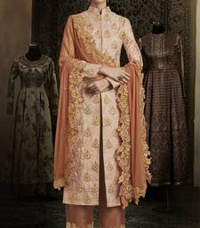 Peach Embroidered Brocade Semi Stitched Salwar With Dupatta