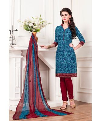 Blue printed Cotton Blend unstitched salwar with dupatta