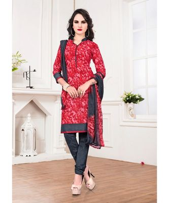 Red printed Cotton Blend unstitched salwar with dupatta