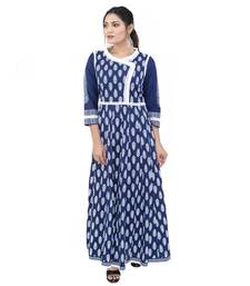 Dark-blue printed cotton ethnic kurtis