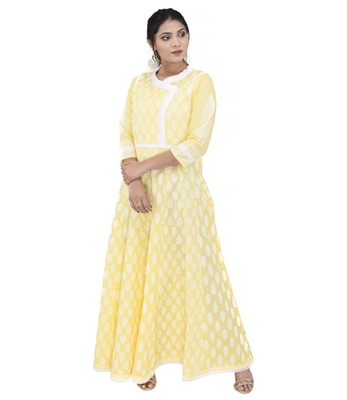 Yellow printed cotton ethnic kurtis