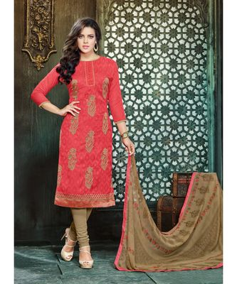 Red printed Polyester unstitched salwar with dupatta