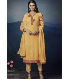 Yellow embroidered Yellow semi stitched salwar with dupatta