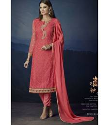 Pink embroidered Pink semi stitched salwar with dupatta