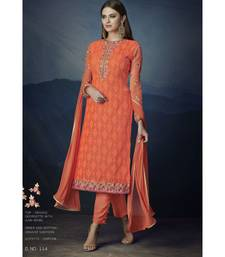 Orange embroidered Orange semi stitched salwar with dupatta