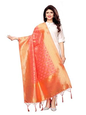 Pink Silk Jacquard Womens Dupatta