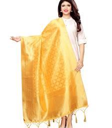 Yellow Silk Jacquard Womens Dupatta