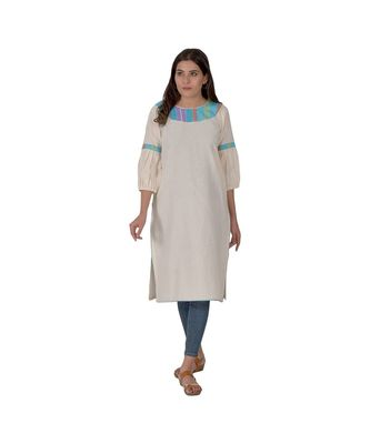 Cream Kurta With Multicoloured Piping In Khadi Cotton
