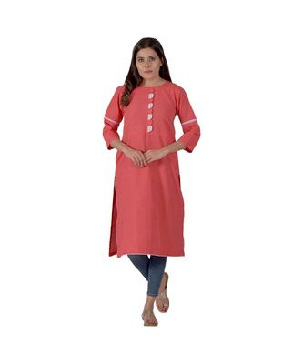 Tomato Red Kurta In Khadi Cotton