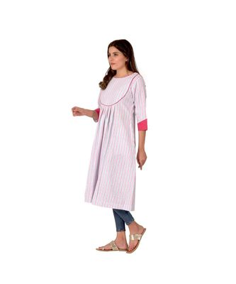 Blue And Red Striped Kurta In Khadi Cotton