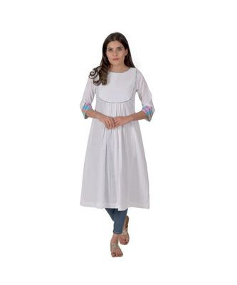 Cotton White Kurta With Multicoloured Piping In Khadi Cotton