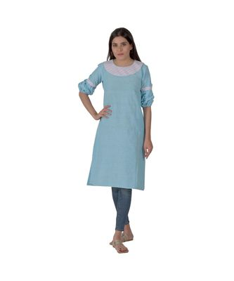 Blue Kurta In Khadi Cotton