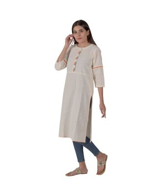 Cream Kurta With Scalloped Placket In Khadi Cotton