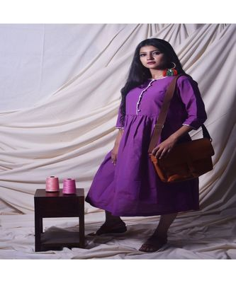 Purple Kurta In Khadi Cotton