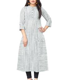 Multicolor hand woven cotton long kurtis
