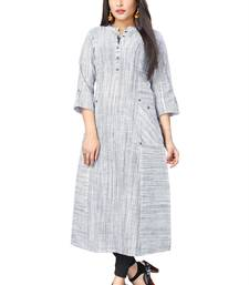 DnVeens White hand woven South cotton long kurtis