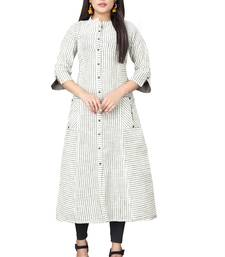 Cream hand woven cotton long kurtis