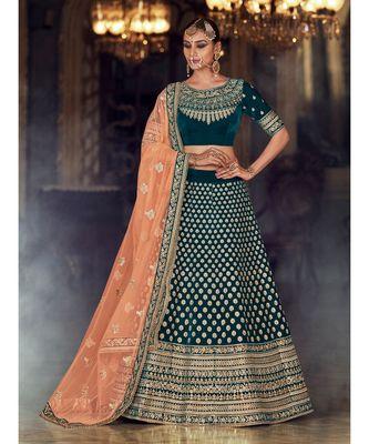 Green Rivaaz Embroidery Designer Wedding Lehenga