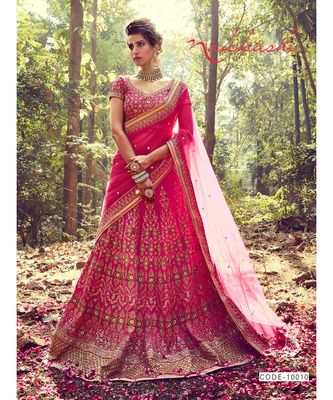 pink Bridal Carnival Designer embroidery wedding Lehenga