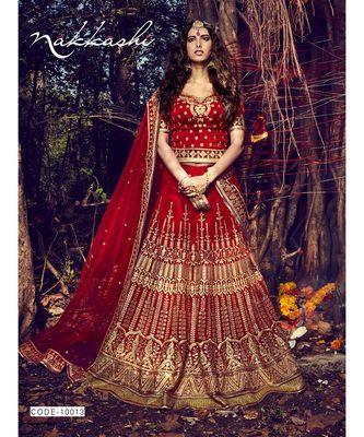 red Bridal Carnival Designer embroidery wedding Lehenga