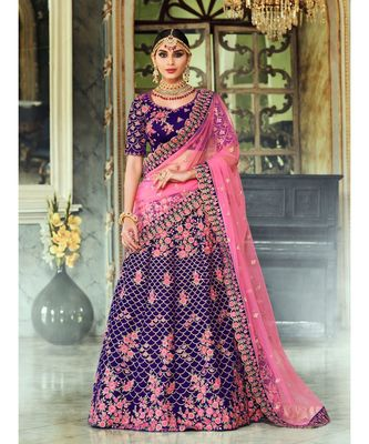 Purple Rivaaz embroidery Designer Wedding lehenga