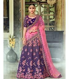 Purple Rivaaz Embroidery Designer Wedding Lehenga