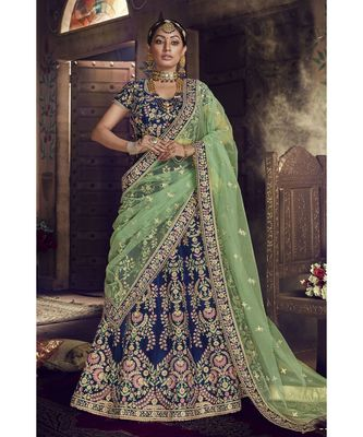 Blue Virasat Wedding Designer Lehenga