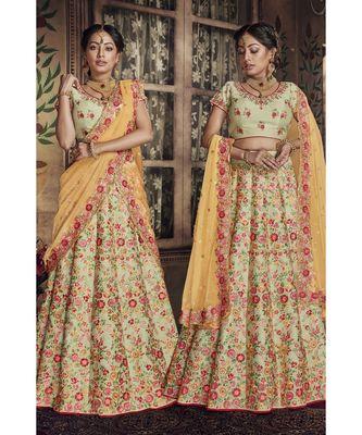 Green Virasat Wedding Designer Lehenga