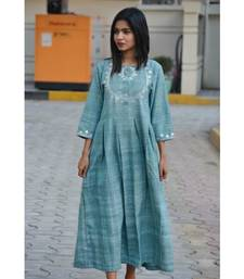 Turquoise Maxi Kurta in Traditional Gotta Patti