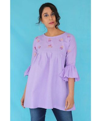 Mauve Khadi Cotton Cactus Top with Flared sleeves