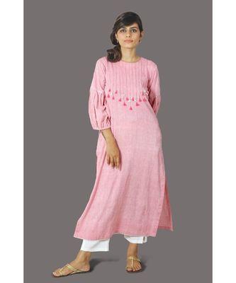 Pink Front Tassele Khadi Cotton Kurta