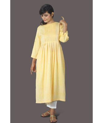 Yellow Front Tassele Khadi Cotton Kurta