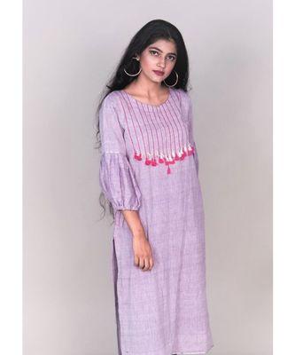 Purple Front Tassele Khadi Cotton Kurta